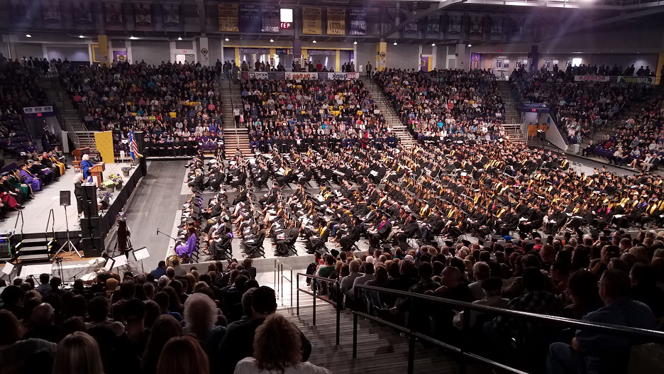 MNSU 2019 Spring Graduation Ceremony Side view, Bresnan Arena