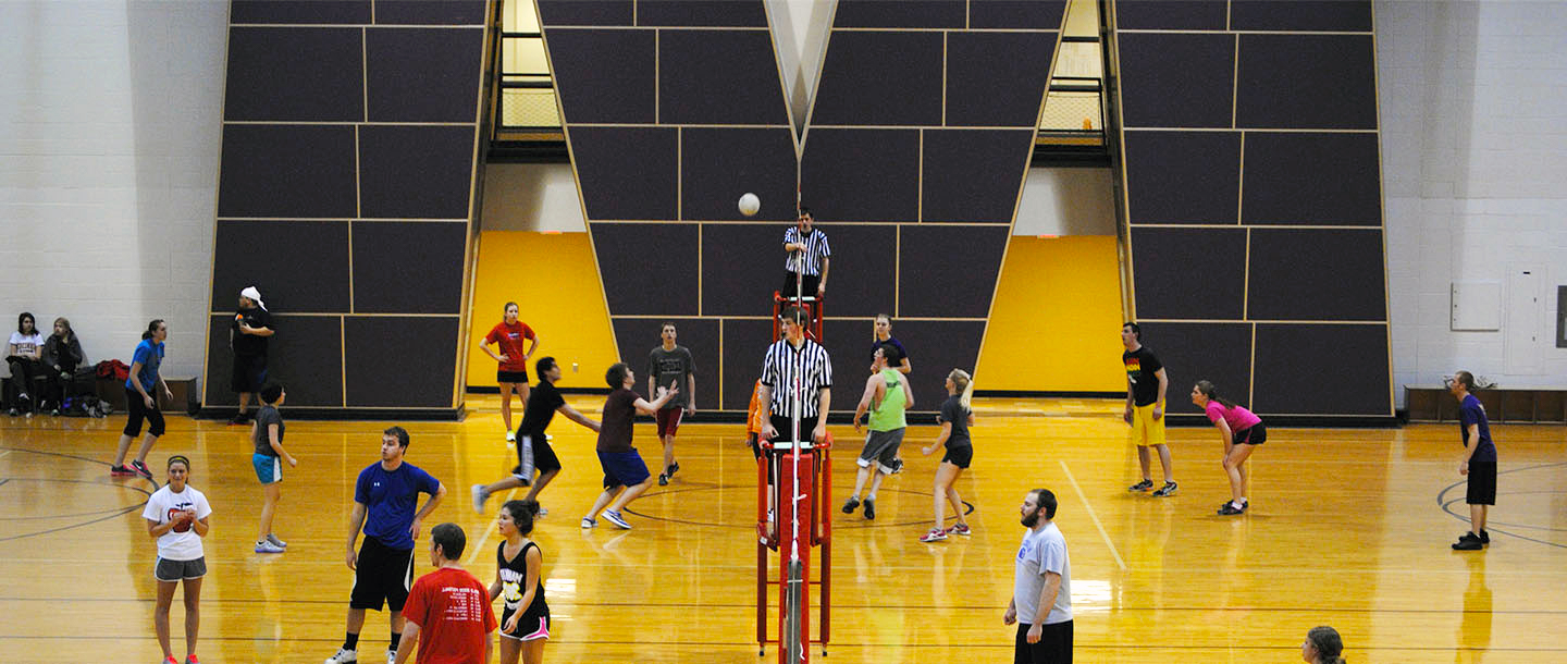 Playing volleyball in the Otto Recreation Center